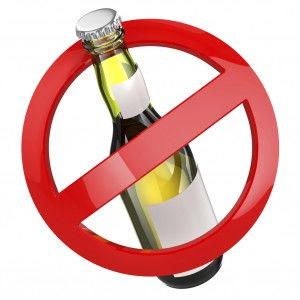 No alcohol sign.  Bottle of beer on white isolated background.